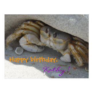 Cangrejo a la playa de arena Crab tarjeta de cumpl Postales