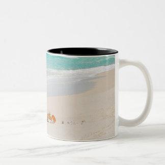 Cangrejo hermoso en la playa taza de café de dos colores