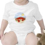 Cangrejo lindo en bebé de la playa camisetas