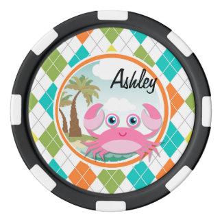 Cangrejo rosado en el modelo colorido de Argyle Fichas De Póquer