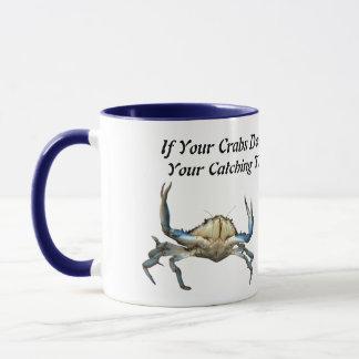 Cangrejos de cogida, taza de café combinada