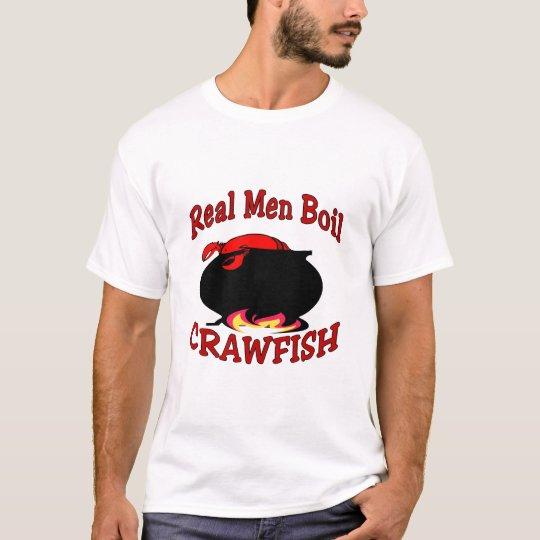 Cangrejos reales de la ebullición de los hombres camiseta