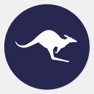 Canguro australiano (paquete de 6/20) pegatina redonda