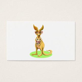Canguro con los vidrios tarjeta de negocios