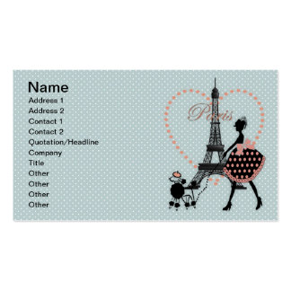 Caniche francés que camina del chica romántico tarjetas de visita