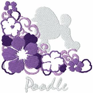 Caniche púrpura del hibisco sudadera bordada con serigrafía