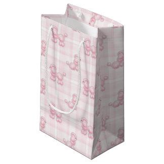Caniches y controles rosados lindos bolsa de regalo pequeña