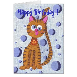 ¡Cannelle el feliz cumpleaños del gato! tarjeta de