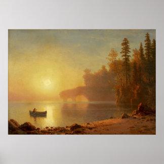 Canoa india de Albert Bierstadt Póster