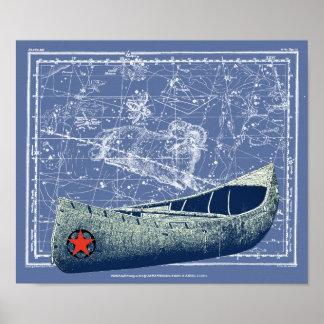 Canoa y constelación póster