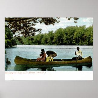 Canoeing, parque de Asbury, vintage 1907 de New Je Póster