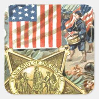 Cañón de marzo Eagle del ejército de la medalla de Pegatina Cuadrada