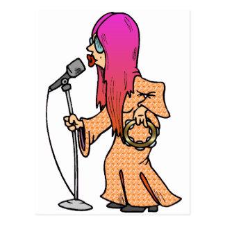 Cantante del Hippie con el pelo rosado Postal