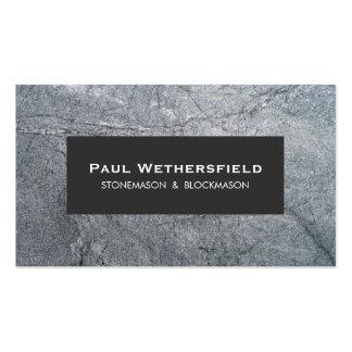 Cantero y arquitecto de piedra grises de tarjetas de visita