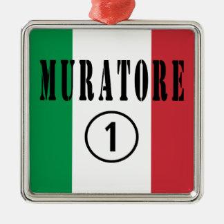 Canteros italianos: Uno de Muratore Numero Adorno Cuadrado Plateado