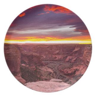 Canyon de Chelly, puesta del sol, Arizona Plato De Comida