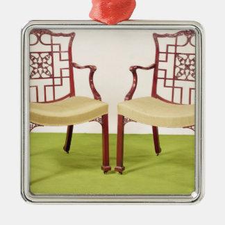 Caoba de Chippendale que cena sillas Ornamentos De Navidad