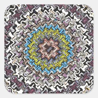 Caos concéntrico colorido pegatina cuadrada