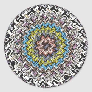 Caos concéntrico colorido pegatina redonda