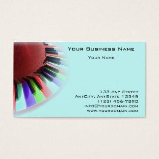 Caos del teclado brillante en azul tarjeta de negocios