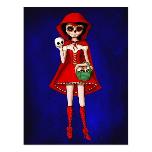 Capa con capucha de Dia De Muertos Red Tarjetas Postales