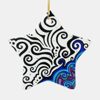 Capa permanente de hielo adorno navideño de cerámica en forma de estrella