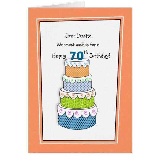 Capas de deseos 70.os o de cualquier cumpleaños de tarjeta de felicitación