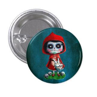 Caperucita Rojo de Dia de los Muertos Chapa Redonda De 2,5 Cm