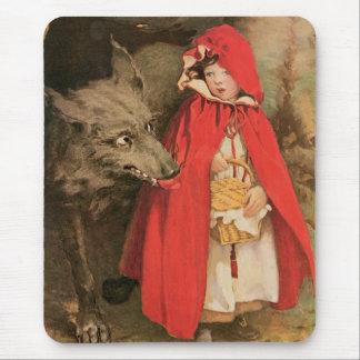 Caperucita Rojo del vintage y mún lobo grande Alfombrilla De Ratón