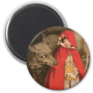 Caperucita Rojo del vintage y mún lobo grande Imán