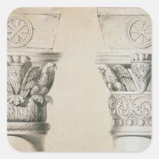 Capitales bizantinos de columnas en el cubo del pegatina cuadrada