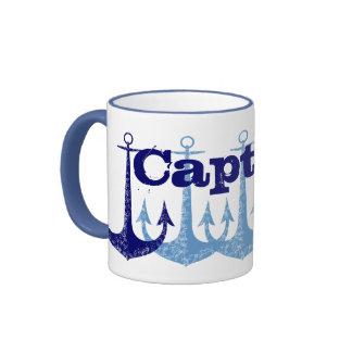 Capitán azul Nautical del ancla personalizado Taza A Dos Colores