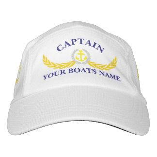 Capitán con nombre y el ancla del barco gorra de alto rendimiento