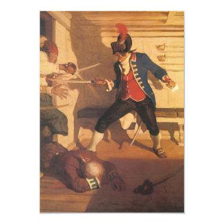 Capitán del pirata del vintage, lucha de la espada invitación 12,7 x 17,8 cm