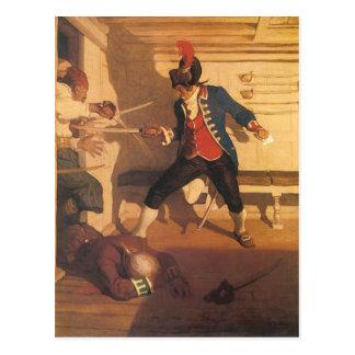 Capitán del pirata del vintage, lucha de la espada postal