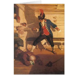 Capitán del pirata del vintage, lucha de la espada tarjeta