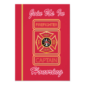 Capitán Firefighter Retirement Invitation Invitación 12,7 X 17,8 Cm