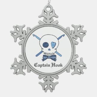 Capitán Hook Skull y ganchos de ganchillo (azules) Adorno De Peltre En Forma De Copo De Nieve
