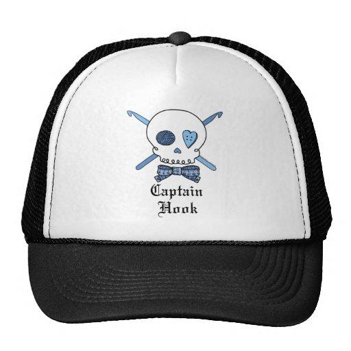 Capitán Hook Skull y ganchos de ganchillo (azules) Gorras De Camionero