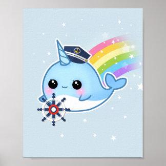 Capitán lindo del kawaii narwhal con el arco iris póster