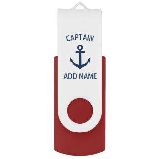 Capitán náutico del barco del ancla de los azules memoria USB
