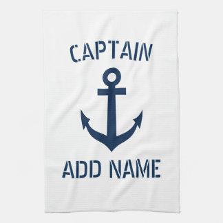 Capitán náutico del barco del ancla de los azules paño de cocina