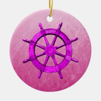 Capitán rosado Wheel Adorno Redondo De Cerámica