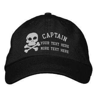 Capitán With Skull y huesos de la cruz adaptables Gorro Bordado