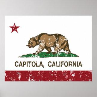 capitola de la bandera de California apenado Poster