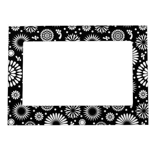 Capítulo magnético negro retro de las flores blanc marcos magnéticos