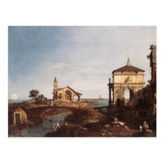 Capricho con los adornos venecianos por Canaletto Postal