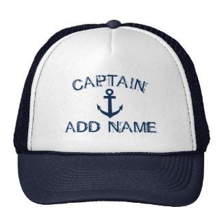 Captain el gorra con nombre náutico del ancla y