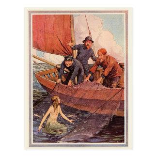Captura de la sirena de los marineros del vintage postal