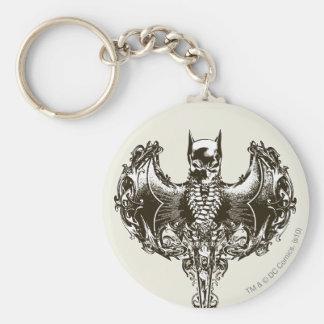 Capucha de Batman y escudo del cráneo Llavero Redondo Tipo Chapa
